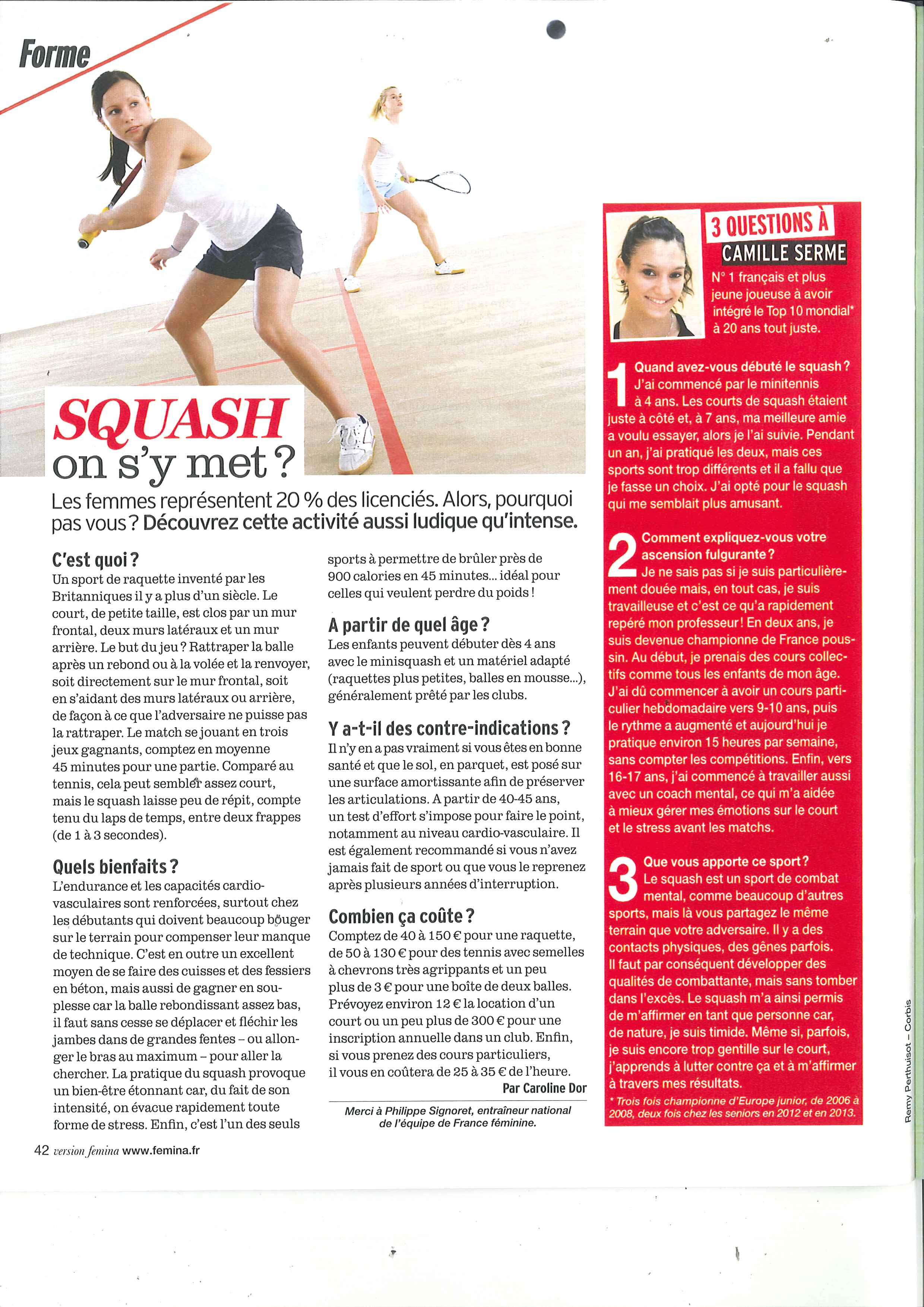Article VERSION FEMINA - Squash - 10112013